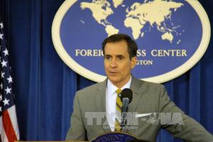 Người phát ngôn Bộ Ngoại giao Mỹ John Kirby tại cuộc họp báo ở Washington DC.. Ảnh: EPA/TTXVN