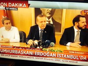 Tổng thống Erdogan phát biểu sau khi tới Istanbul (Ảnh: Twitter)
