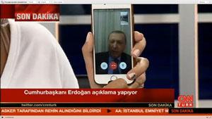 Tổng thống Thổ Nhĩ Kỳ Recep Tayyip Erdogan gọi điện thoại tới kênh CNN Turk thúc giục người dân xuống đường chống lại âm mưu đảo chính.