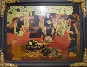 """Bức """"Vườn chuối"""" của Nguyễn Sáng treo tại triển lãm"""
