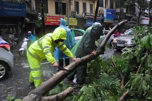 Lực lượng chức năng khắc phúc hậu quả của bão số 1.