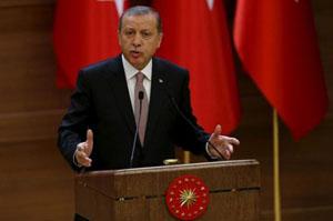 Tổng thống T.Éc-đô-gan chỉ trích thái độ của Mỹ và phương Tây với âm mưu đảo chính vừa qua. Ảnh: Roi-tơ.