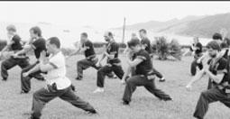 Võ sư Nguyễn Thanh Long(áo trắng) huấn luyện các võ sinh người Đức.