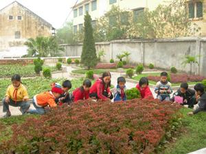 Giữ gìn môi trường xanh – sạch – đẹp, là một trong những tiêu chí thực hiện quy chế văn hóa công sở. Ảnh: cô và trò trường tiểu học Sông Đà chăn sóc vườn hoa.