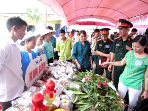 Các đại biểu thăm quan gian trưng bày cây dược liệu của xã Kim Bình tại hội thi.