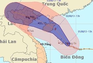 Dự báo bão số 5 sẽ gây mưa lớn khắp miền Bắc. (Ảnh: NCHMF)