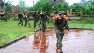 Lực lượng bộ đội thuộc Trung đoàn 43 thường trực ứng cứu tại huyện Hải Hà