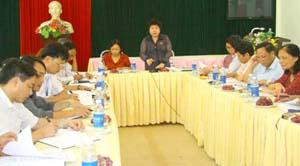 Đồng chí Nguyễn Thúy Anh, Phó Chủ nhiệm Ủy Ban về các vấn đề xã hội - Quốc hội phát biểu tại buổi làm việc với UBND TP Hòa Bình và phường Phương Lâm.