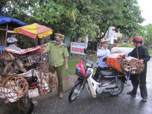 Chốt kiểm dịch Yên Mông (thành phố Hòa Bình) kiểm soát chặt số lượt phương tiện và gia cầm vận chuyển qua chốt nhằm ngăn chặn dịch cúm A/H5N1 xâm nhập vào địa bàn.