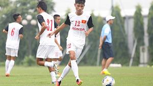 Các cầu thủ ĐT Olympic quốc gia tập luyện tại Trung tâm đào tạo bóng đá Trẻ Việt Nam. (ảnh: Liên đoàn Bóng đá Việt Nam)