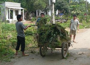 Nhân dân xã Phú Minh (Kỳ Sơn) thu gom rác trên các tuyến đường, giữ gìn đường làng sạch đẹp, bảo vệ môi trường nông thôn.