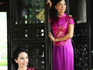 Diễm My và Lê Khanh chụp hình cho bộ sưu tập Đất rồng thiêng.