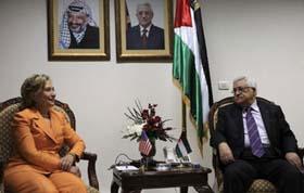 Cuộc gặp giữa Ngoại trưởng Mỹ Clinton và Tổng thống Palestine Abbas (Ảnh: THX)