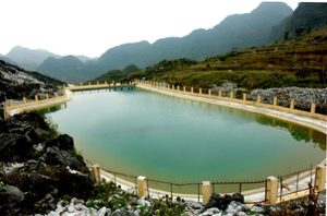 Hồ chứa nước Sính Lủng, huyện Đồng Văn, tỉnh Hà Giang (Ảnh: Báo Hà Giang)