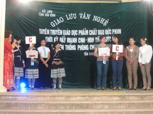 Hai đội xã Tân Minh và Cao Sơn tham gia phần giao lưu kiến thức.