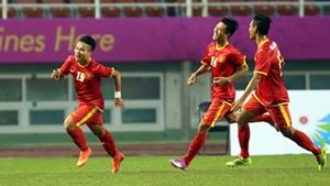 Niềm vui của các cầu thủ Olympic Việt Nam.