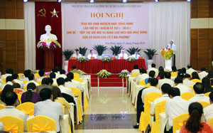 Toàn cảnh hội nghị trao đổi Kinh nghiệm công tác HĐND 14 tỉnh khu vực miền núi trung du phía Bắc.