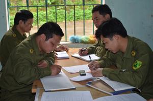 Lực lượng C.A xã Thanh Nông thường xuyên làm tốt công tác trao đổi thông tin, nắm bắt tình hình cơ sở trong việc quản lý địa bàn, đảm bảo ANTT.