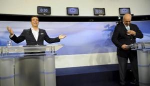 Ông Alexis Tsipras (trái) và ông Vangelis Meimarakis trong cuộc tranh luận trên kênh truyền hình quốc gia, ngày 14-9. (Ảnh: Reuters).